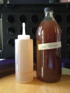 Herbal infused vinegar + finished hair rinse in application bottle.