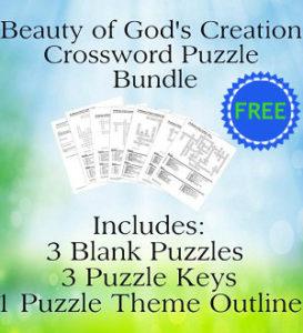 Beauty of God's Creation Crossword Puzzle Bundle